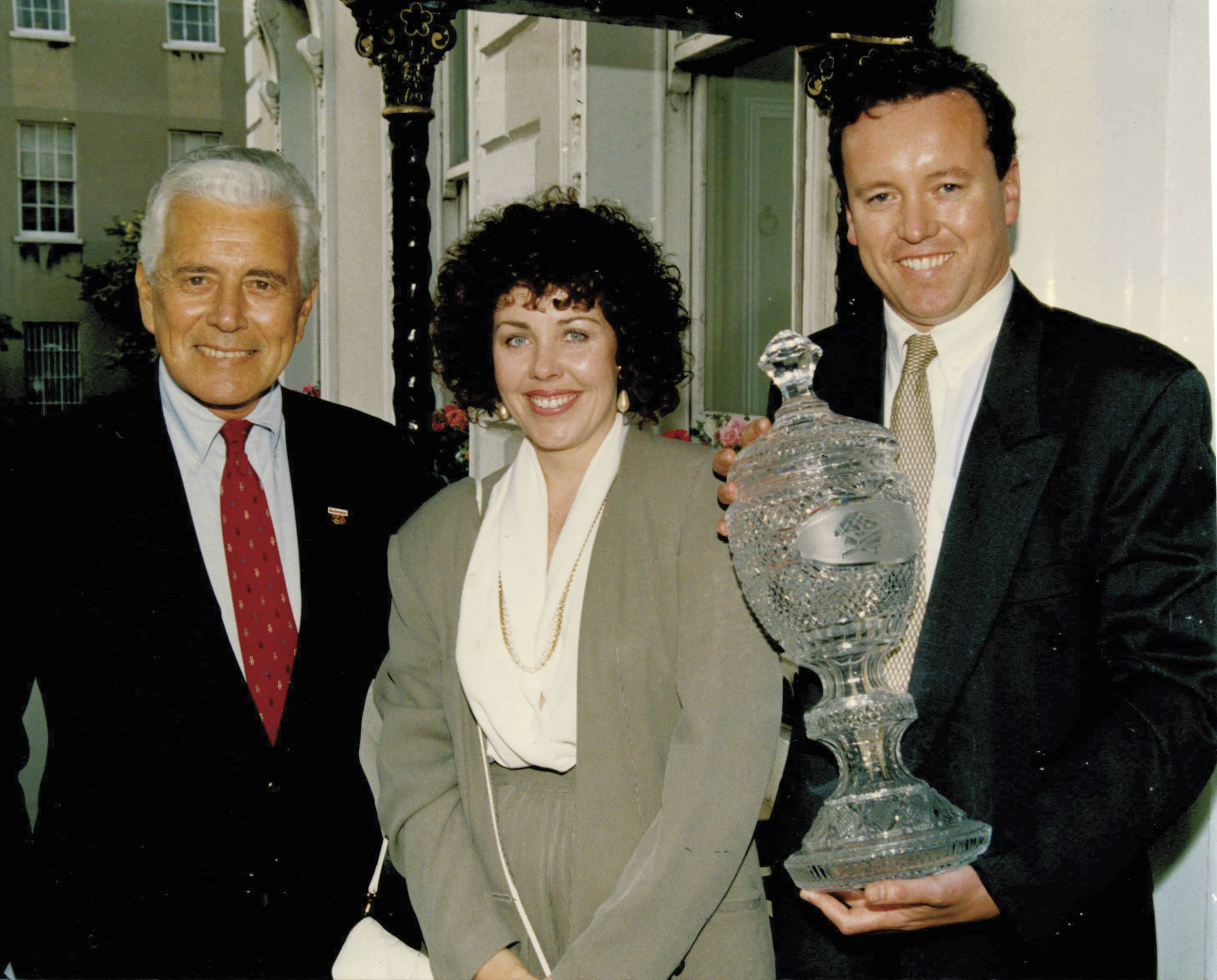 John Forsythe of Dynasty fame along with Jean and the Budweiser Irish Derby Trophy at Dublin's Mansion House.