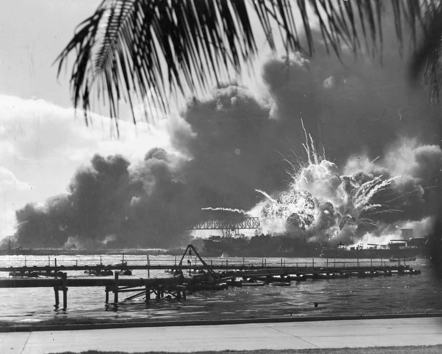 An unknown navy photographer snapped this photograph of the Japanese attack on Pearl Harbor in Hawaii on December 7, 1941, just as the USS Shaw exploded.(Wikimedia Commons)