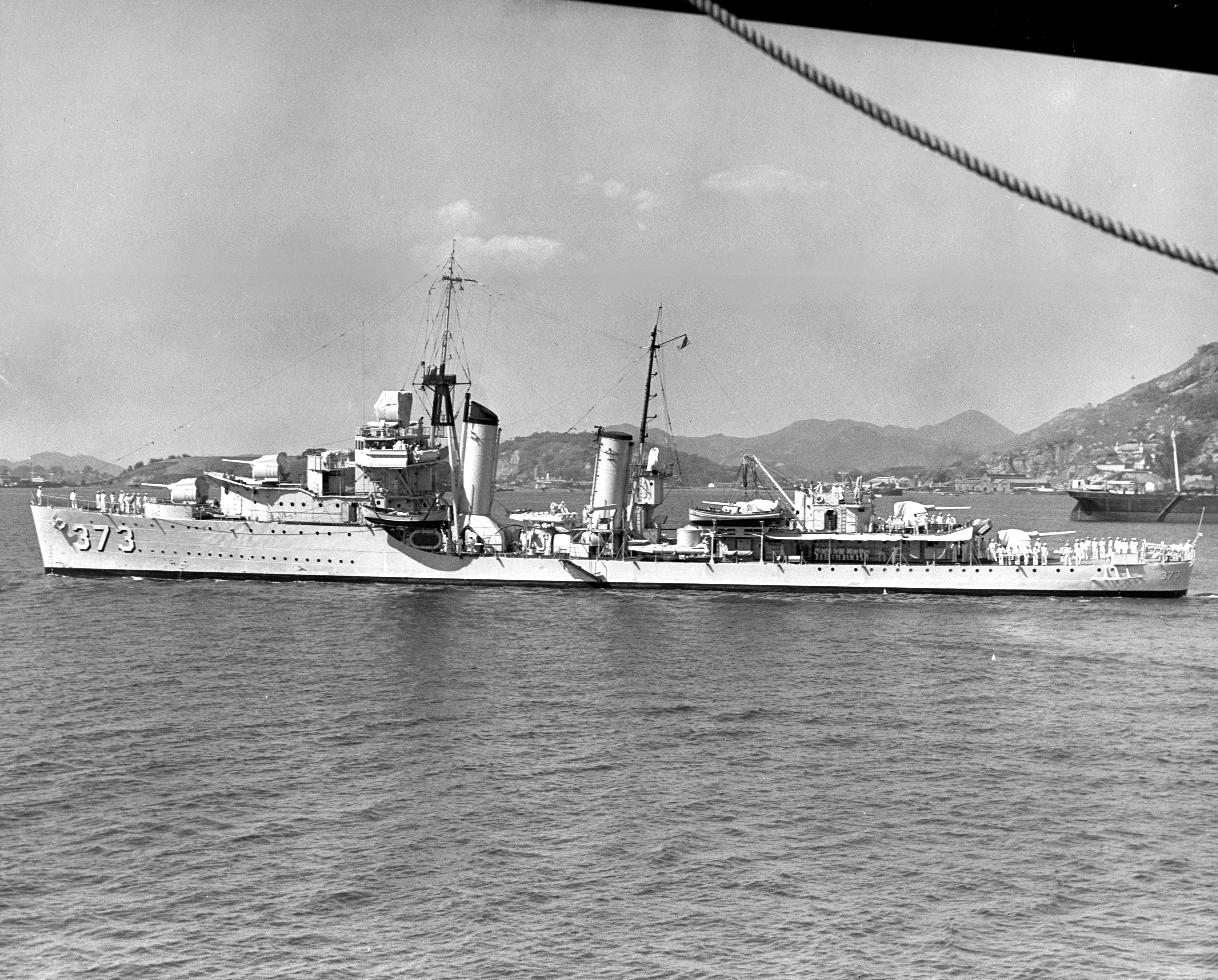 The U.S. Navy destroyer USS Shaw (DD-373) entering Rio de Janeiro harbor, Brazil, 1 September 1938. Taken by a USS Enterprise (CV-6) photographer. Official U.S. Navy Photograph, from the collections of the Naval Historical Center.