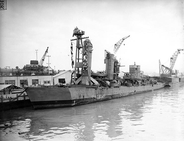At the Mare Island Navy Yard, circa mid-February 1942, with a temporary bow before final repairs. Official U.S. Navy Photograph, from the collections of the Naval Historical Center.