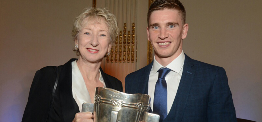 Irish America  editor-in-chief Patricia Harty with Tipperary senior hurling team  captain Brendan Maher. Photos: James Higgins.
