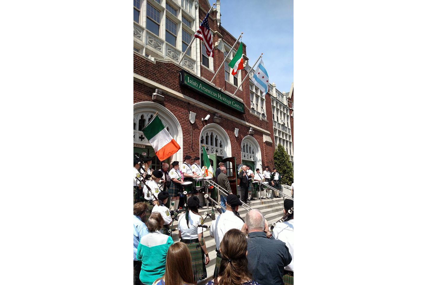 The Irish  American Heritage  Center in Chicago on front steps reading the Proclamation at exactly 12:04 pm on April 24, 2016.