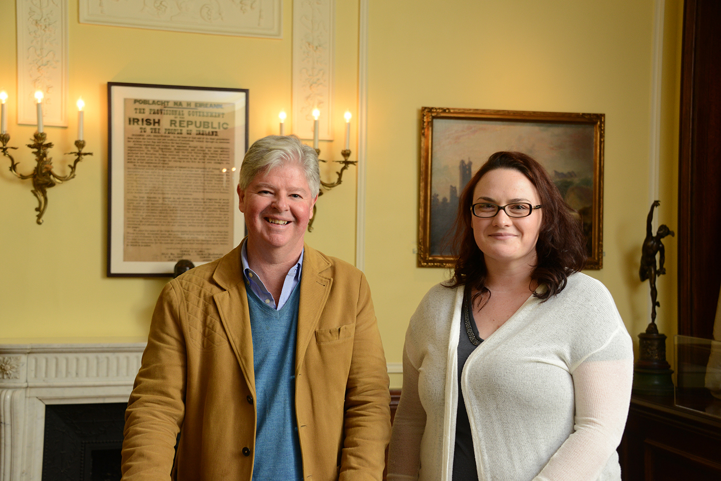 "Chris Cahill, executive director of the American Irish Historical Society, with AIHS librarian Georgette Keane at the ""Her Exiled Children: 1916 Archives"" exhibition last year."