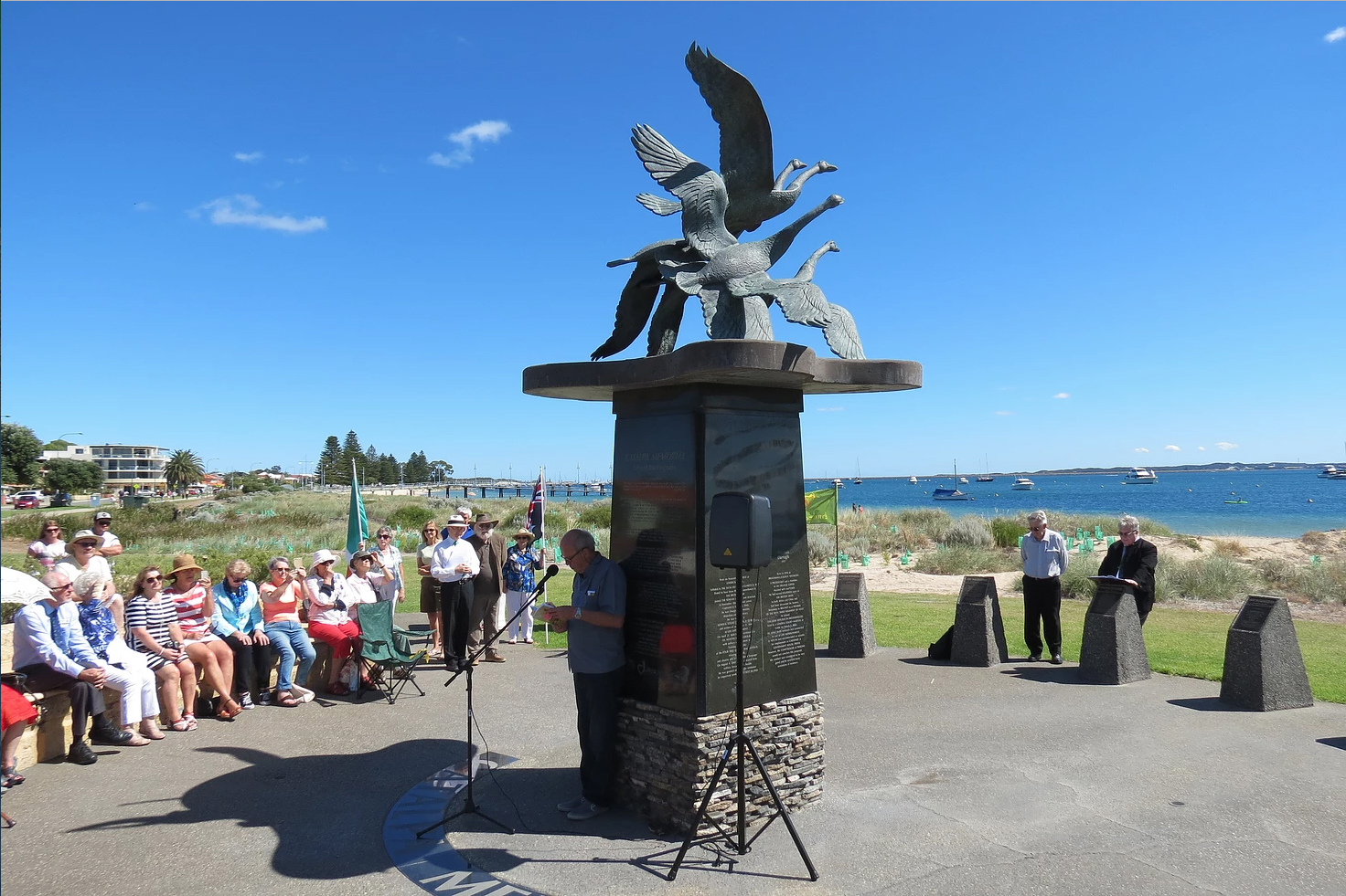 ROCKINGHAM BEACH: In March, Australian Irish Heritage Association commemorated the Catalpa rescue in a ceremony at Rockingham Beach's Catalpa Memorial, outside of Perth. The Catalpa was a ship bought by Clan na Gael and John Devoy in New York that helped six Irish Fenian prisoners escape from imprisonment in Western Australia in 1876.