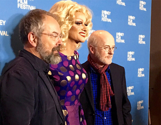 "SYDNEY: Director Conor Horgan and Panti Bliss, ""The Queen of Ireland,"" pictured alongside Ambassador Noel White at the Sydney Film Festival Hub."