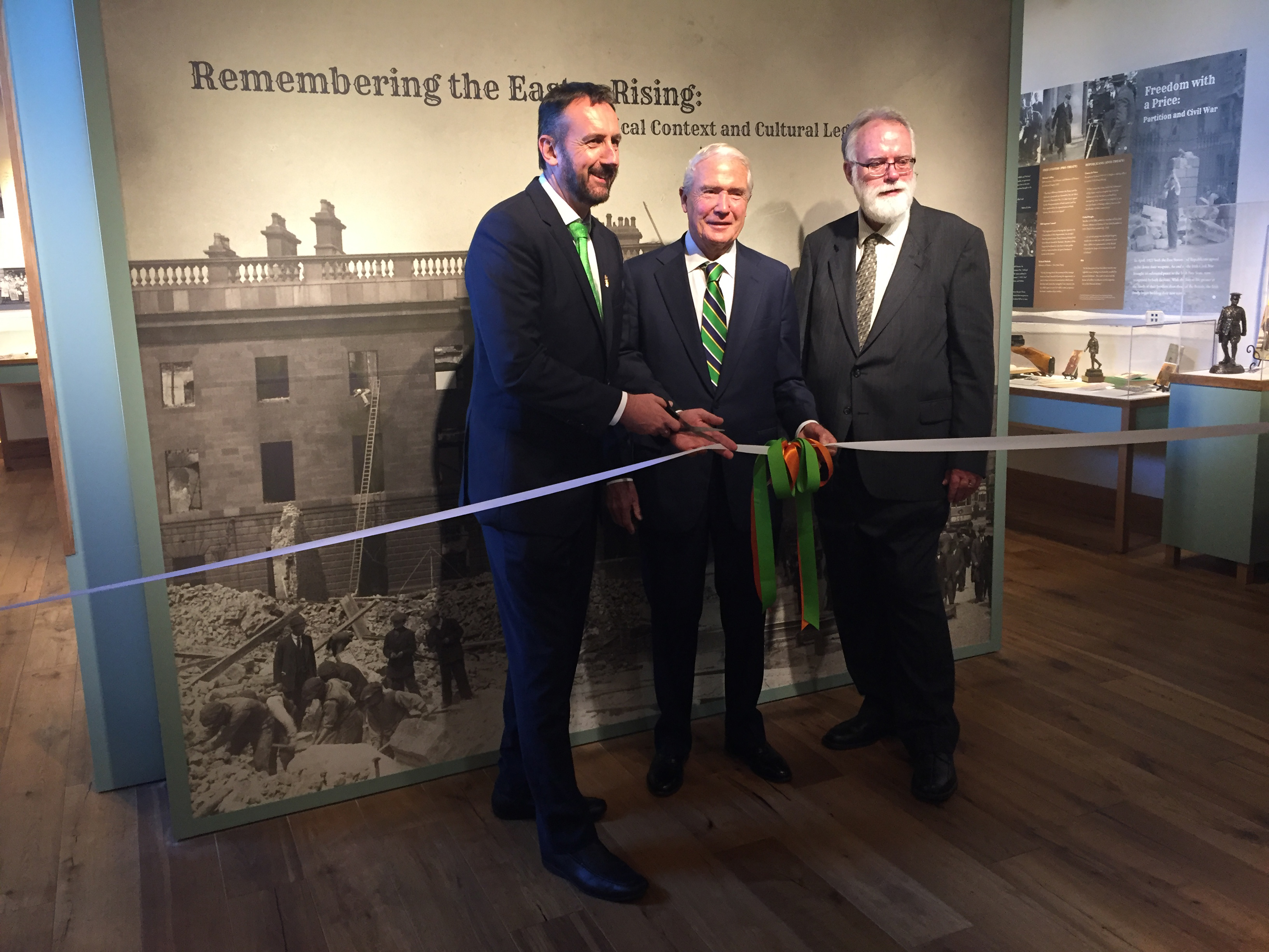 Consul General Philip Grant, ICLF Treasurer Norman McClelland, and ICLF President Paul Ahern at the 1916 Commemoration Exhibit Grand Opening in October of 2015. (Photo: Caroline Woodiel)