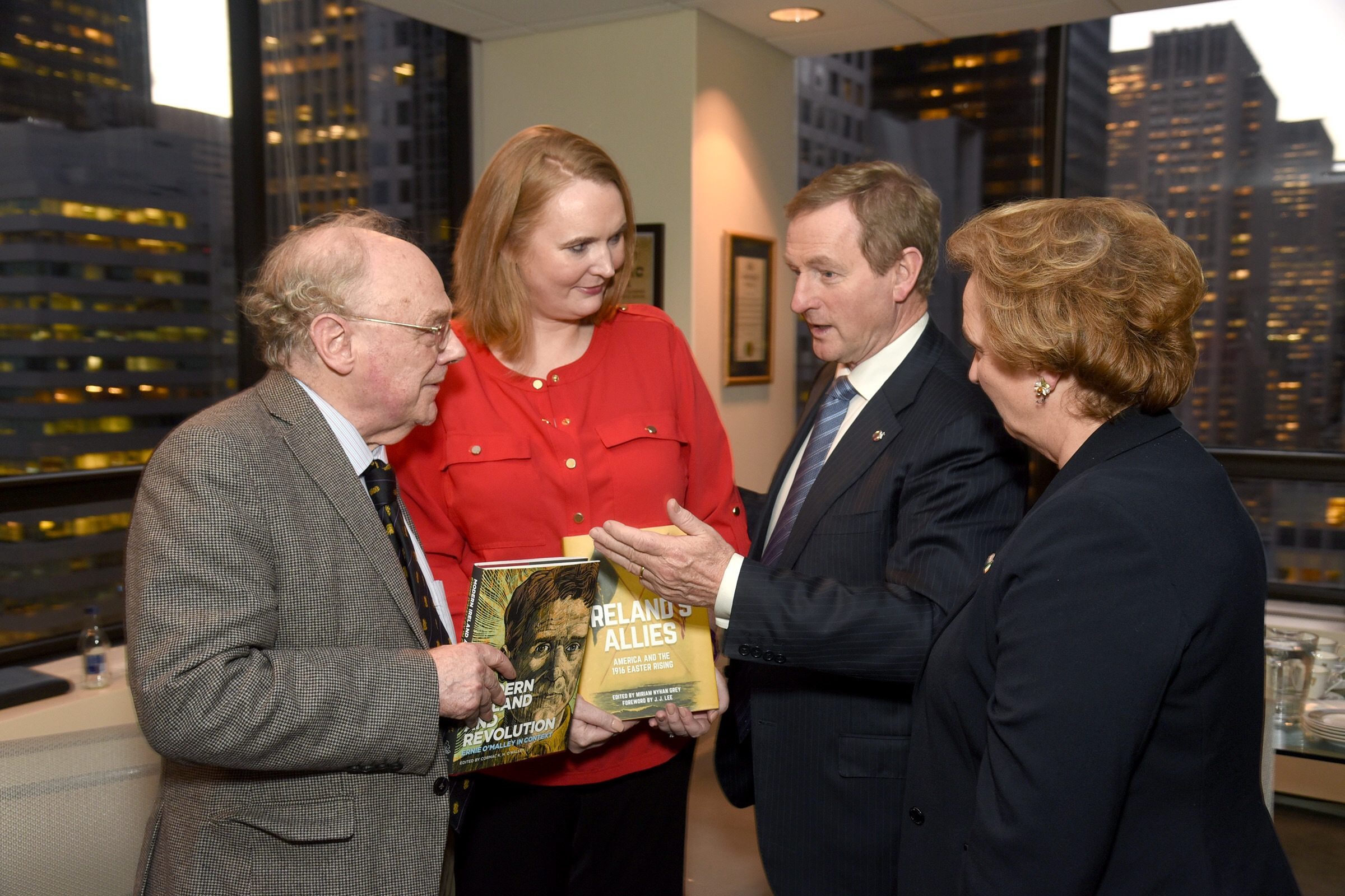 Historians J.J. Lee and Miriam Nyhan Grey with Enda Kenny and Barbara Jones.