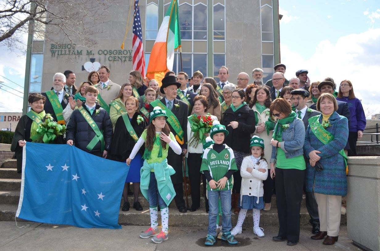 St. Patrick's Day celebrants in front of Cleveland's Bishop William M. Cosgrove Center.