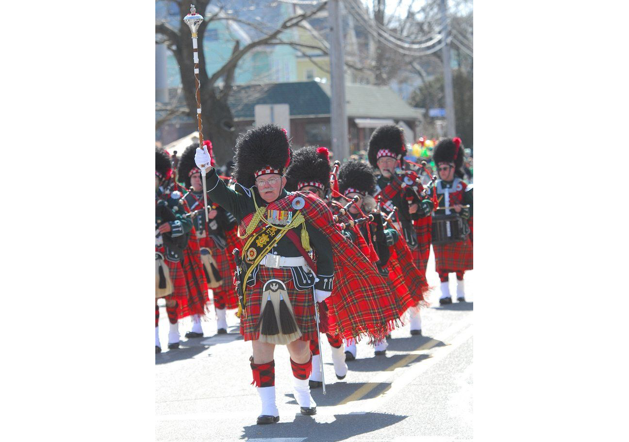 Pipe and drum bands in the 2013 Holyoke St. Patrick's Day Parade.