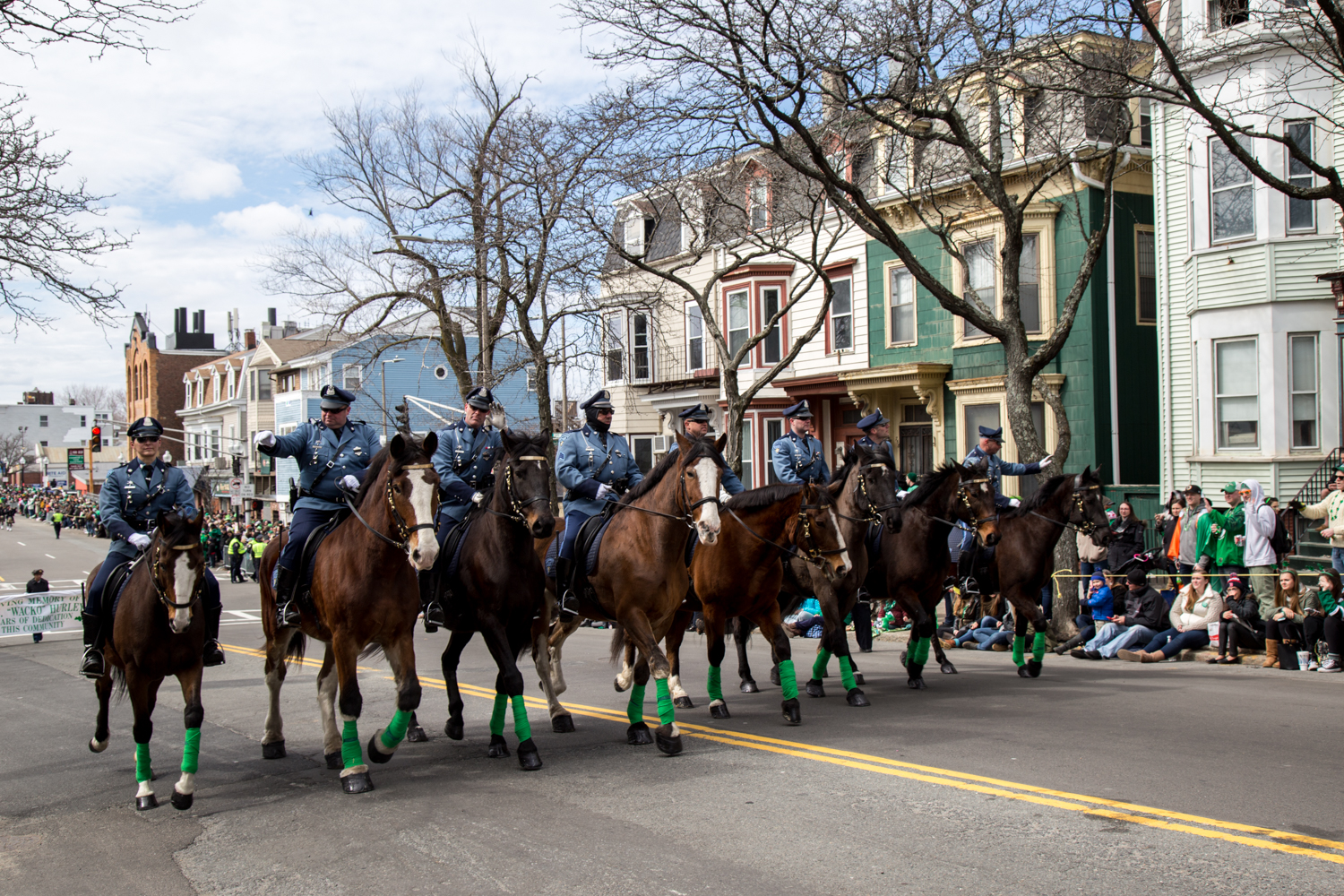 Mounted police march in the Boston St. Patrick's Day Parade.