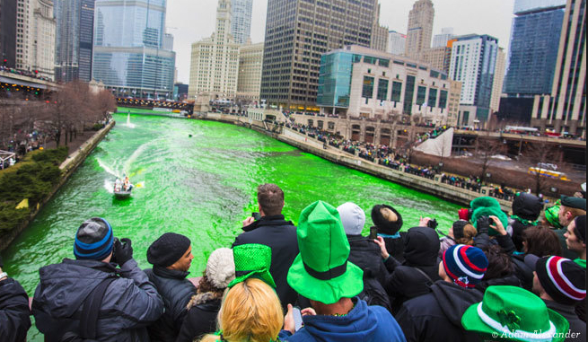 The Chicago River is dyed green each St. Patrick's Day.
