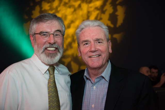 Pictured with Sinn Féin president Gerry Adams in Dublin last March.