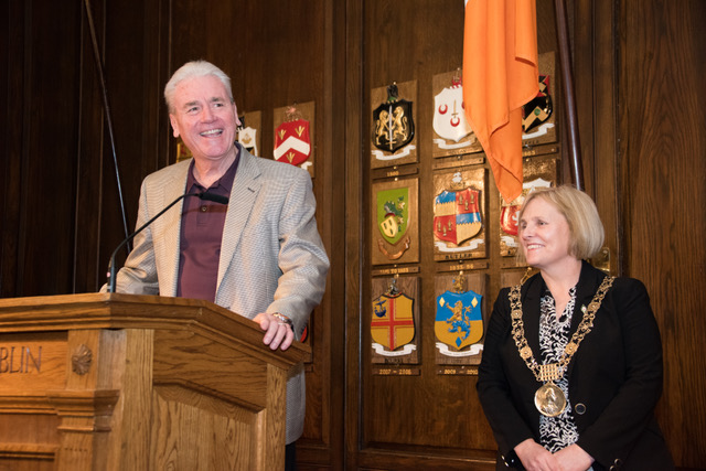 Speaking at a Mansion House  reception with the mayor of Dublin, Críona Ní Dhálaigh, March 26, 2016.