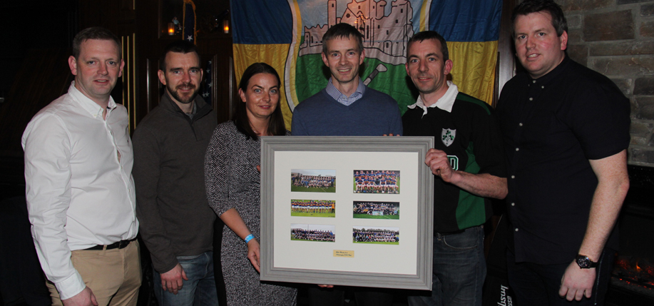Egan, far right, at Slattery's Midtown Pub with members of the Kildangan GAA team that attended the February fundraiser. (Photos: Courtesy Kildangan Hurling Club)