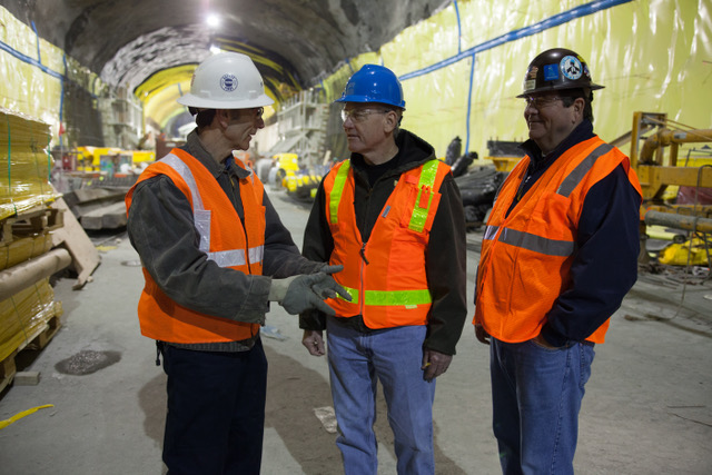 "O'Sullivan  (center) tours the  Second Avenue  subway tunnel work  site in New York City with Laborers'  Local 147, ""The  Sandhogs,""  November 2013."