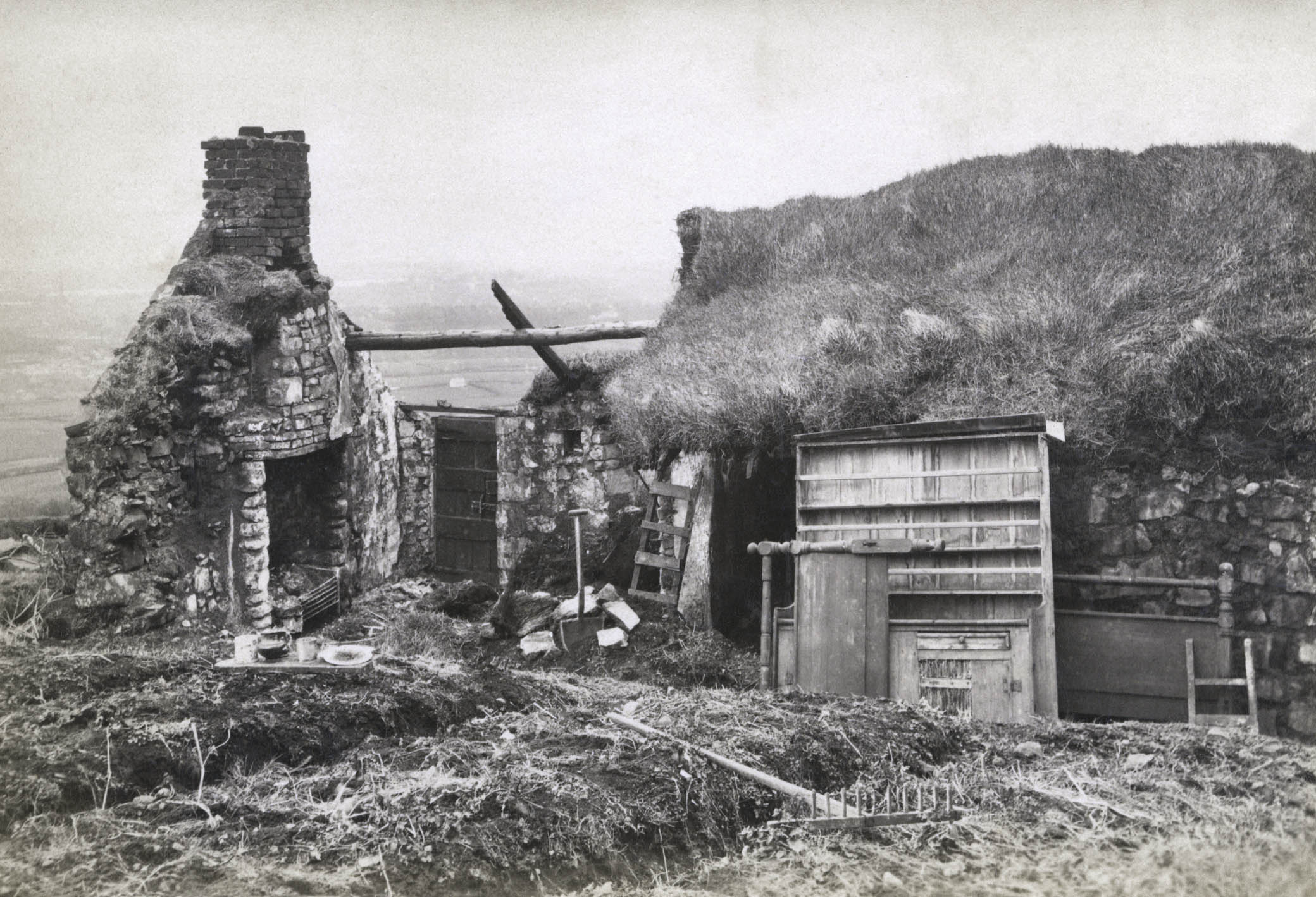 The ruins of a house following an eviction, c. 1888.