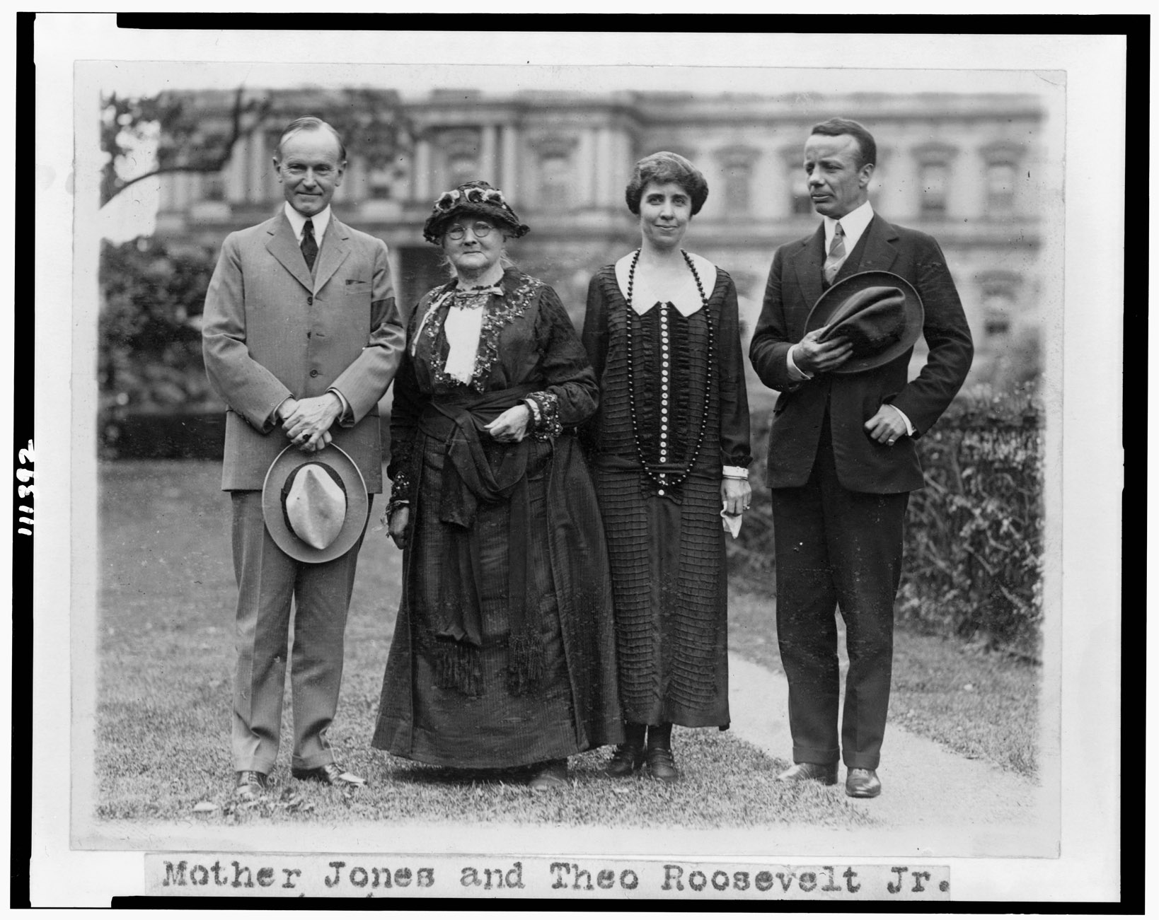 Mother Jones with President Calvin Coolidge (left), his wife Grace, and Theodore Roosevelt, Jr., 1924.