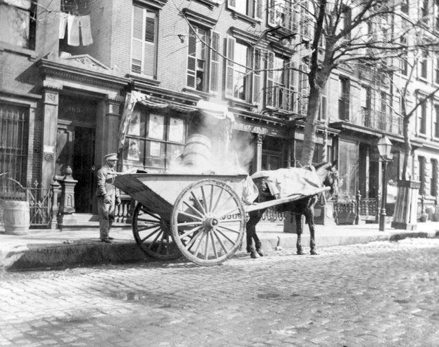 "New York City streets were rank with horse manure, dead animals, and all manner of ""rubbish"" left for scavengers. Waste collection and street cleaning were handled by the Metropolitan Board of Police until the Department of Street Cleaning was created in 1881. A street cleaning program designed by John Ambrose and using white-uniformed workers with carts and brooms, was put into use."