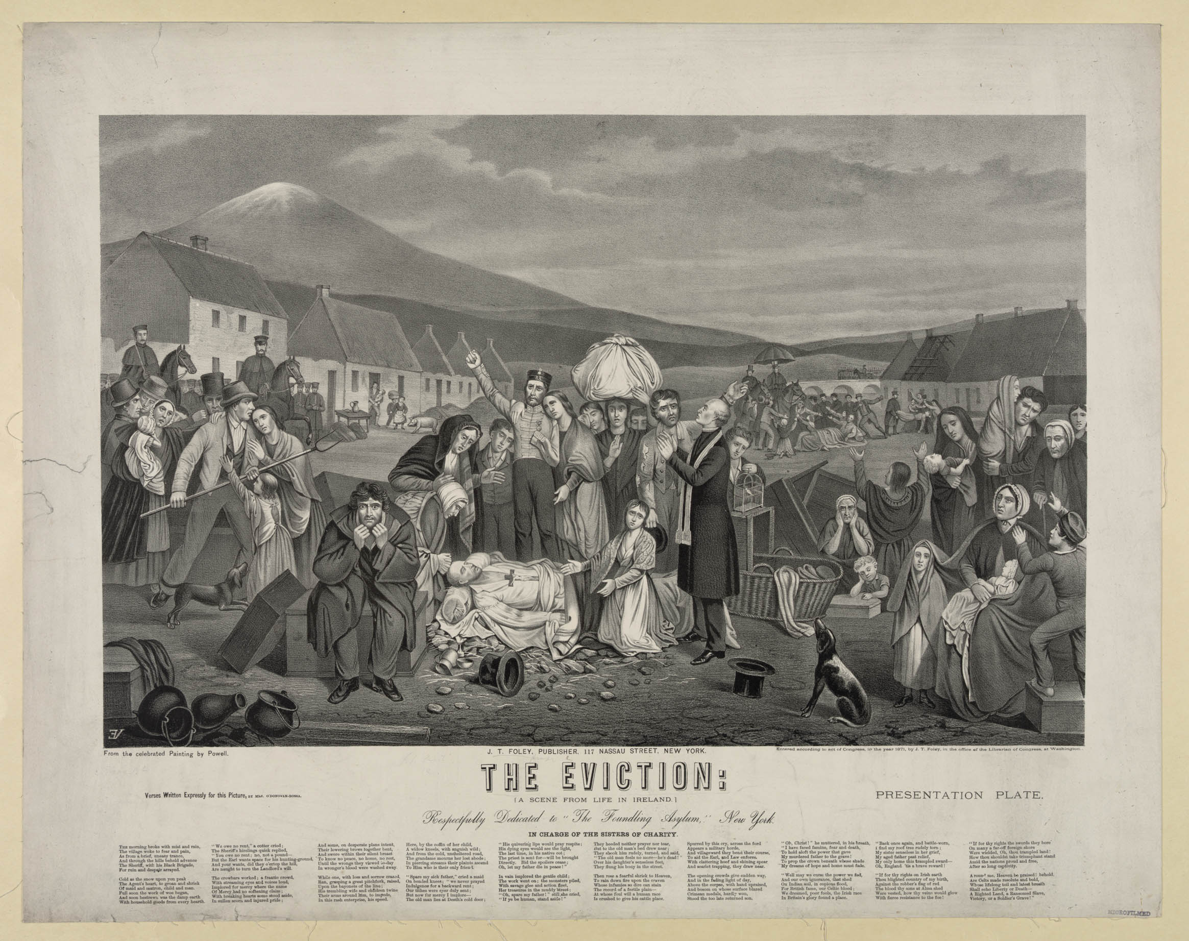 """The Eviction: A Scene from Life in Ireland,"" an 1871 Library of Congress presentation plate published by J.T. Foley after a painting by W.H. Powel. The scene shows clusters of tenants with their belongings after being forcibly evicted from their homes on land largely owned by British absentee landlords. The text at the bottom is an original poem commissioned for the plate by Mary Jane O'Donovan-Rossa. (Photo: Library of Congress)"