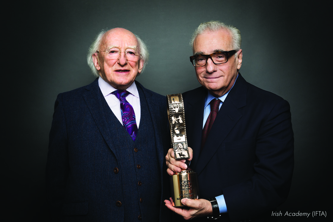 President Michael D. Higgins presents Martin Scorsese with the John Ford Award.