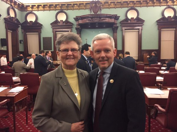 Sister Tesa with New York City Councilman Jimmy Van Bramer, who represents Sr. Tesa's Long Island City district, at New York City Hall. (Photo: Jimmy Van Bramer / Twitter)