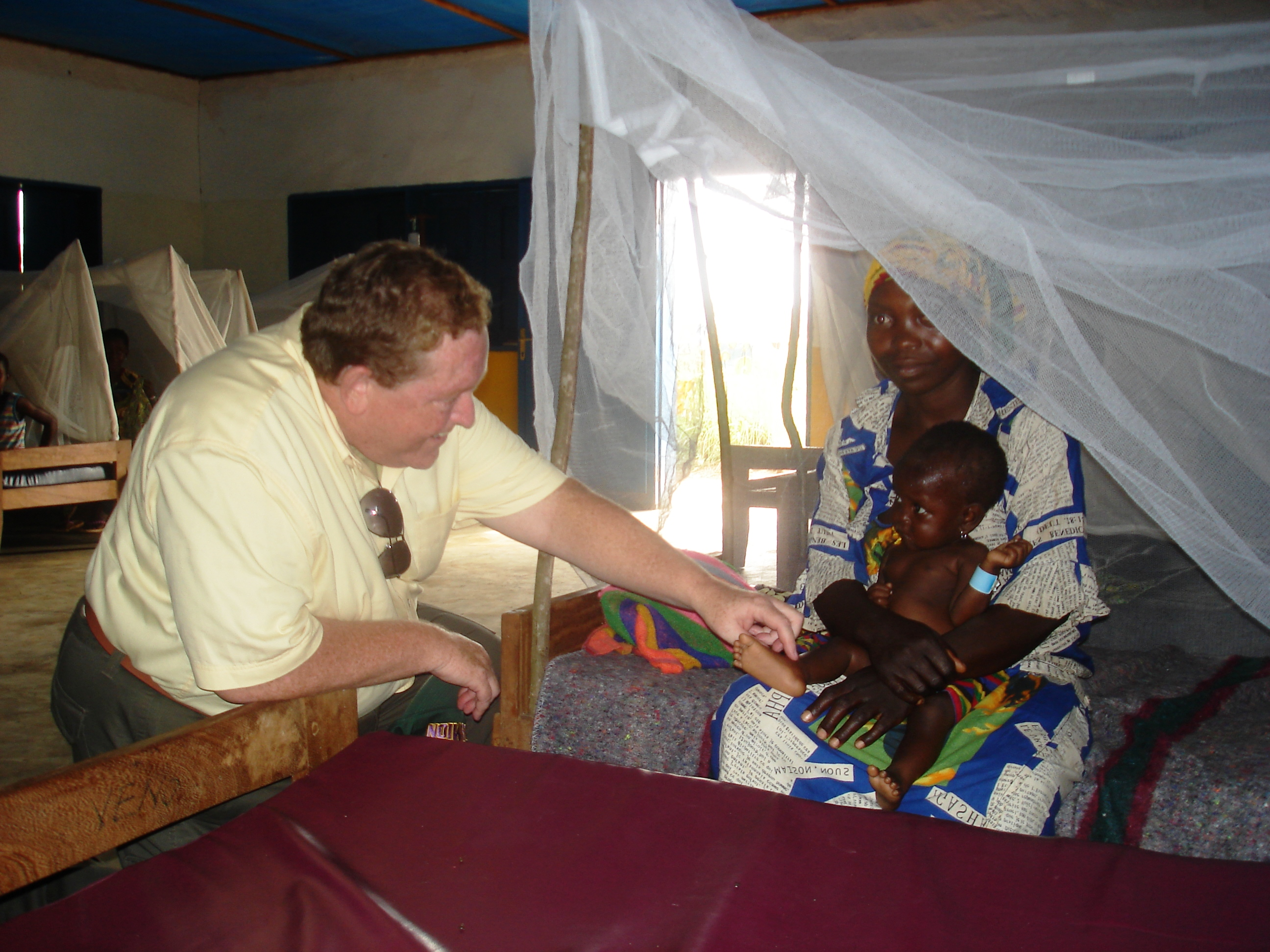 Tom Moran at  a feeding center in  the Democratic  Republic of Congo.
