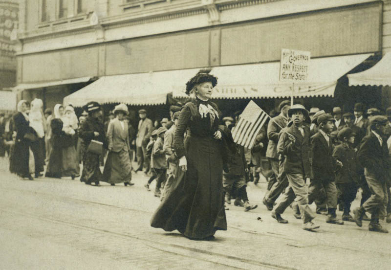 Mother Jones marches in Trinidad, Colorado with supporters during the 1913-1914 coal miners' strike.