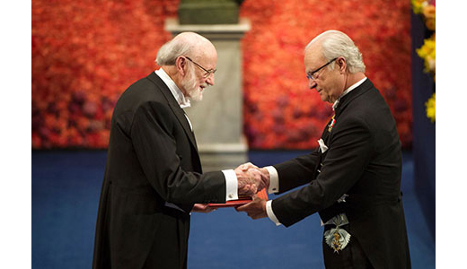 William Campbell receiving his Nobel Prize from H.M. King Carl XVI Gustaf of Sweden at the Stockholm Concert Hall, December 10, 2015.