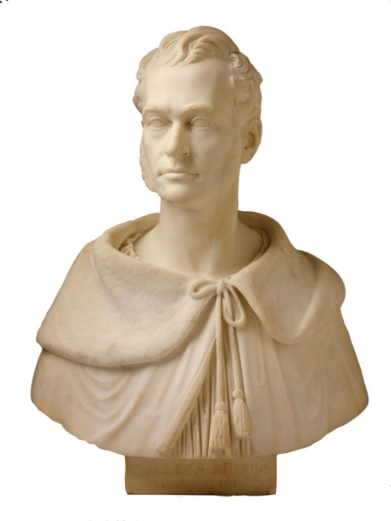 Bust of  Charles Brooks,  pioneer advocate of  free public schools, in the Massachusetts State House, Boston.