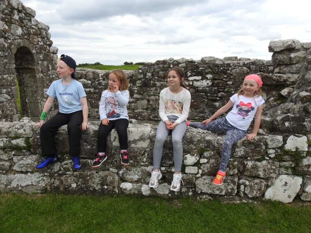 Cousins Jordan, Aoibheann, Grace and Ellen O'Hagan enjoy a Summer trip to Inis Cealtra.