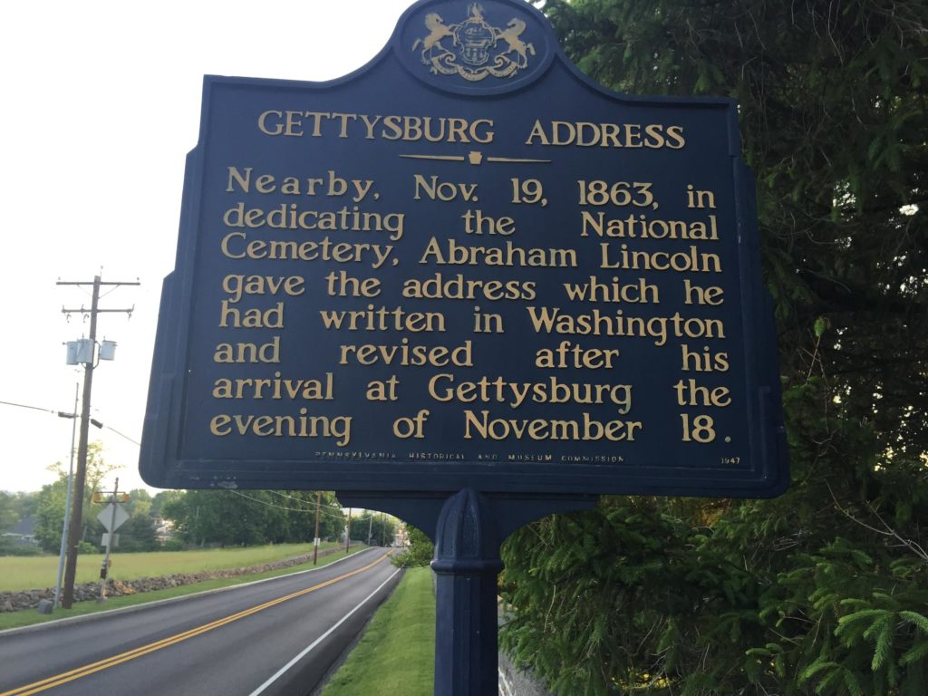 Gettysburg address sign. (Photo courtesy of the author)