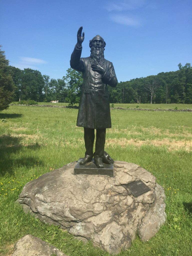 Father Corby statue at Gettysburg.   He became president of Notre Dame following the Civil War. (Photo courtesy of the author)