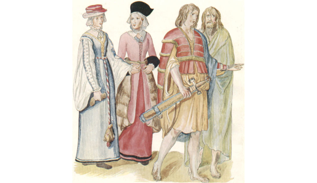 "Dutch watercolor painting of Irish men and women, c. 1575, from Lucas de Heere's book Corte  beschryvinghe van  Engeland, Scotland ende Ireland, ""A Short Description of England, Scotland, and Ireland."" (Photo: Wikimedia Commons)"