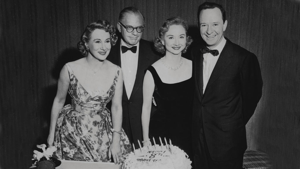 Left to Right: Arlene Francis, Bennett Cerf, Dorothy Kilgallen, and John Daly celebrating 8th anniversary of What's My Line?