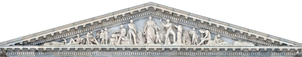 "Senate Pediment, marble, 1863, east front U.S. Capitol: ""The Progress of Civilization"" features figures that represent the early days of America along with the diversity of human endeavor. Click to enlarge.  (Photo: Architect of the Capitol)"