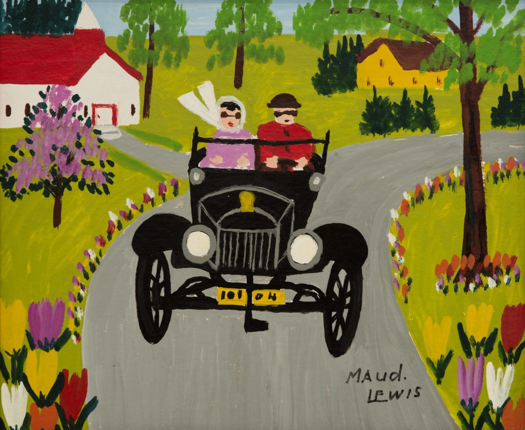 """Model T on Tour"" by Maud Lewis. Oil on graphite board, c. 1960s."