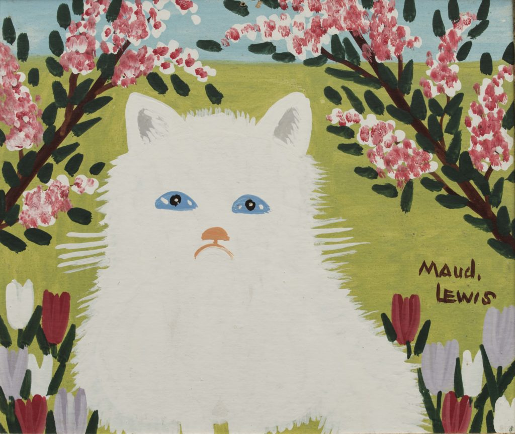 """White Cat"" by Maud Lewis. Oil on pulpboard, c. 1960s."