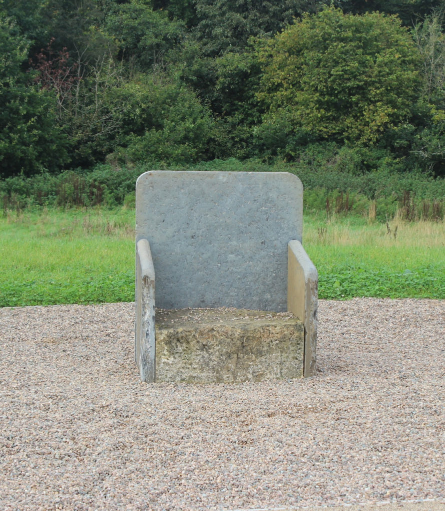 Leac na Rí, the king's flagstone. A replica of the  inauguration chair used for the O'Neill dynasty.
