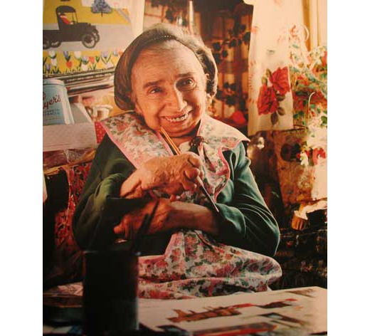 Maud Lewis in real life. Even with her hands gnarled from arthritis she continued to paint.