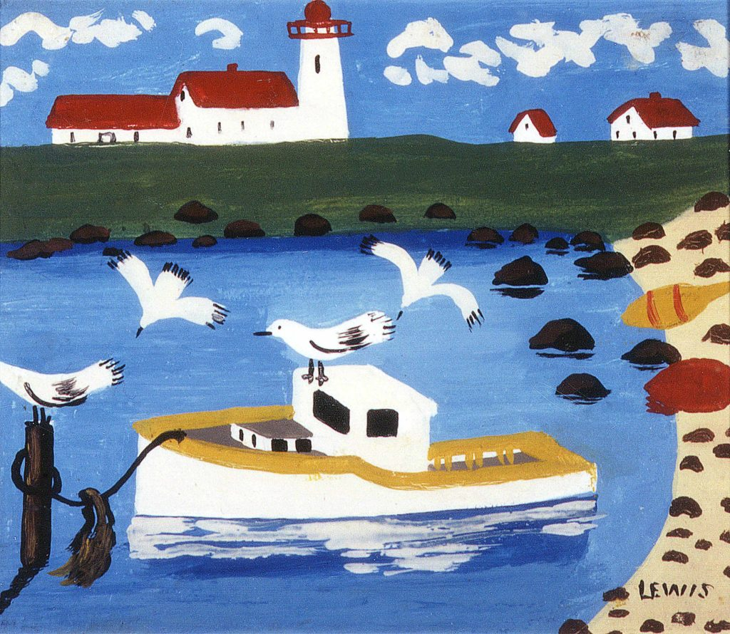 """Cape Islander""  by Maud Lewis. Oil on  particle board, undated."