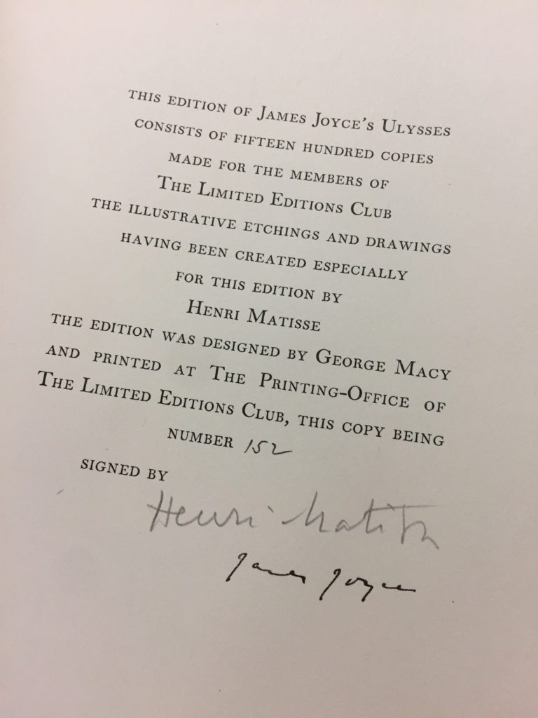 Colophon Page-Matisse+Joyce Signatures