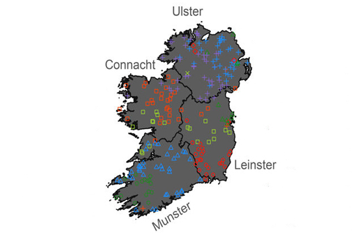 Map Of Ireland Leinster.Mapping Irish Dna Irish America