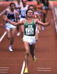 Eamonn Coughlan finishes first in the 1500m at the World Track & Field Championships in Helsinki in 1983.