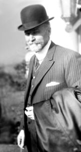 Dr. John B. Murphy standing in an entrance of Mercy Hospital and Medical Center. Theodore Roosevelt was taken to Mercy Hospital after being shot on October 14, 1912 before a campaign speech in Milwaukee, Wisconsin. Mercy Hospital was located at 2537 South Prairie Avenue in the Near South Side community area of Chicago.