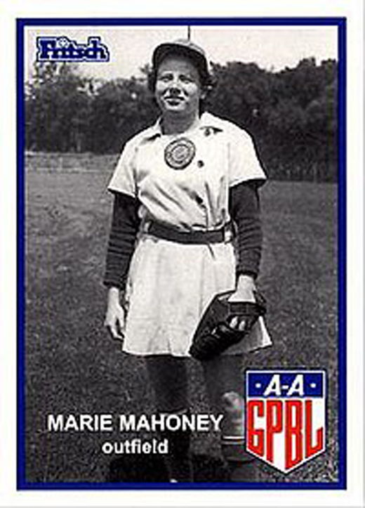 <em>Marie Mahoney's baseball card.</em>