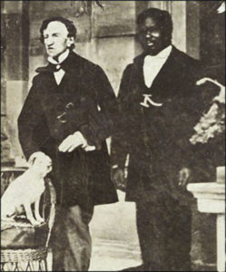 Barry, left, with John, his servant, and Barry's dog Psyche, circa 1862, Jamaica.