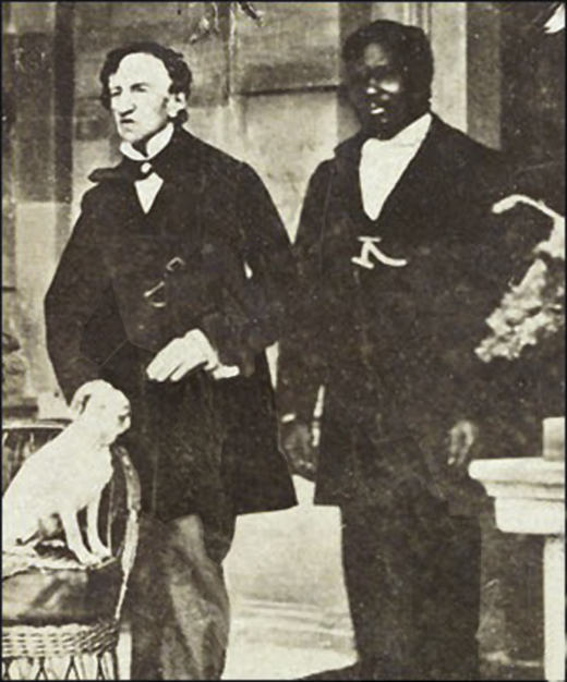<em>Barry, left, with John, his servant, and Barry's dog Psyche, circa 1862, Jamaica.</em>
