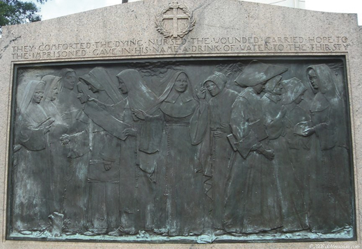 <em>Nuns of the battlefield bas relief by Jerome Connor.</em>