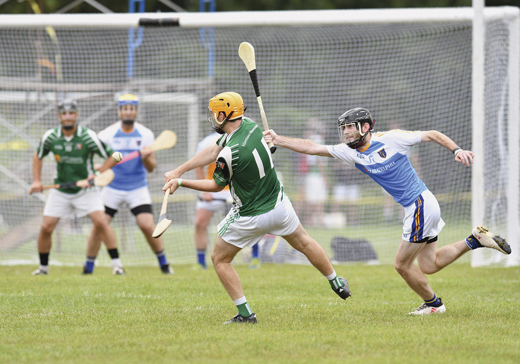 <em>Dan Flanagan of Allentown Hibernians takes his point against rivals Philadelphia Na Tóraidhe.</em>
