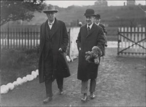Oliver St. John Gogarty and W.B. Yeats following the releasing of the swans into the River Liffey, 1924.